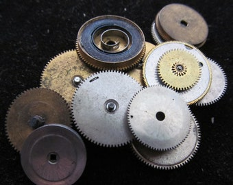 Antique Vintage Clock Watch Parts Cogs Gears Assemblage Steampunk Industrial Art Goodies C 92