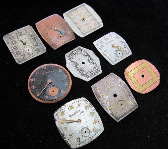 Vintage Antique Watch Dials Steampunk  Faces Parts Assemblage Mixed Media DS 61