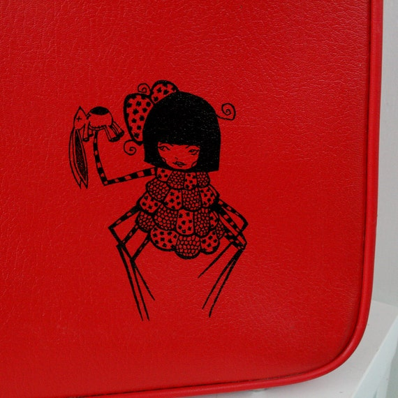 50% off SALE- use coupon code: MOVINGSALE UPCYCLED Cherry Red Vintage Suitcase with Spider Girl Art by Sherri Dupree Bemis