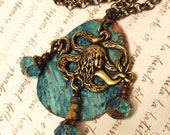 BRASS MeRMaiD NECKLACE BLue PaTina CoPPer nauticaL STEAMPUNK vintage look