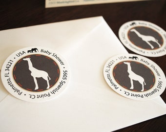DIGITAL Return Address Labels - Sophisticated Safari design in brown with orange and tan accents featuring giraffe and elephant silhouettes