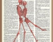 Dancing Skeleton Couple --RED---Vintage Dictionary Art Print