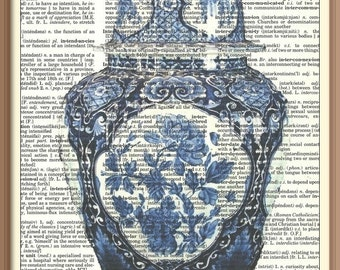 Antique Blue/ White Ginger Jar  with Lid No 1---Vintage Dictionary Art Print---Fits 8x10 Mat or Frame