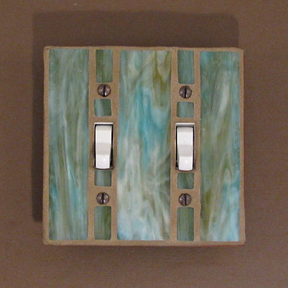 Double Light Switch Plate - Stained Glass - Switch Cover - Moss Green - Olive Green 7434