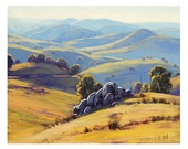 AFTERNOON LIGHT PAINTING commissioned Australian art hilly landscape by Graham Gercken - GerckenGallery