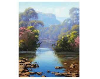 ORIGINAL PAINTING LANDSCAPE painting  Blue river by Graham Gercken