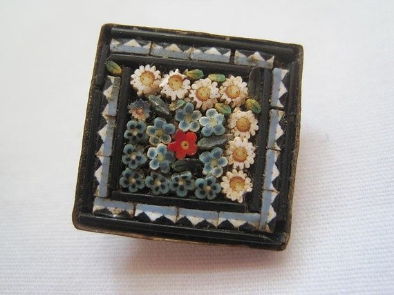 Vintage Micro Mosaic Brooch - Miniature Mosaic
