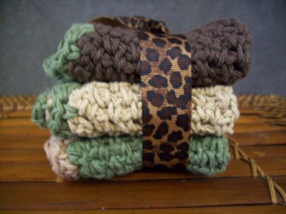 Crochet Kitchen Cloths, Face cloths, Bath, cotton, Brown, Ecru, Beige, Green,Beauty,Kitchen,