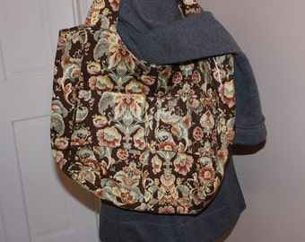 Brown flowered tote