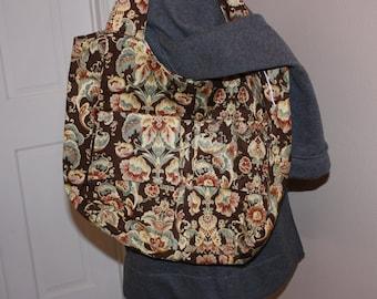 Brown flowered tote