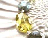 Necklace . Moonrise . Lemon Quartz, Labradorite, Pearl, Crystal, Sterling Silver