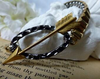 Steampunk Arrow Bracelet - OOAK Reclaimed Vintage Watchband Bracelet - Minimalist Jewelry