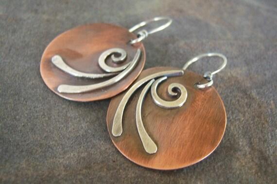 Sale-Rustic-Swirled-Dangle-Earrings-Free Shipping.