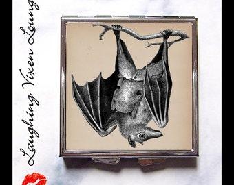 Bat Compact Mirror Style-A - Bat Pill Box - Vampire Compact Mirror - Halloween Compact Mirror - Bat Pill Case - Gothic Compact Mirror