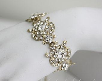 Gold Bridal Bracelet Art Deco Crystal Cuff Bracelet Swarovski Rhinestone Wedding Cuff CHLOE