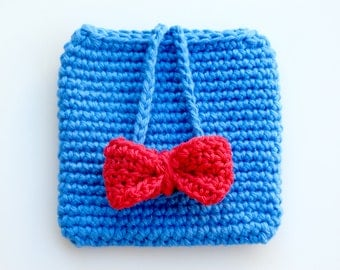 Crocheted Cell Phone Holder. Red. Bow.