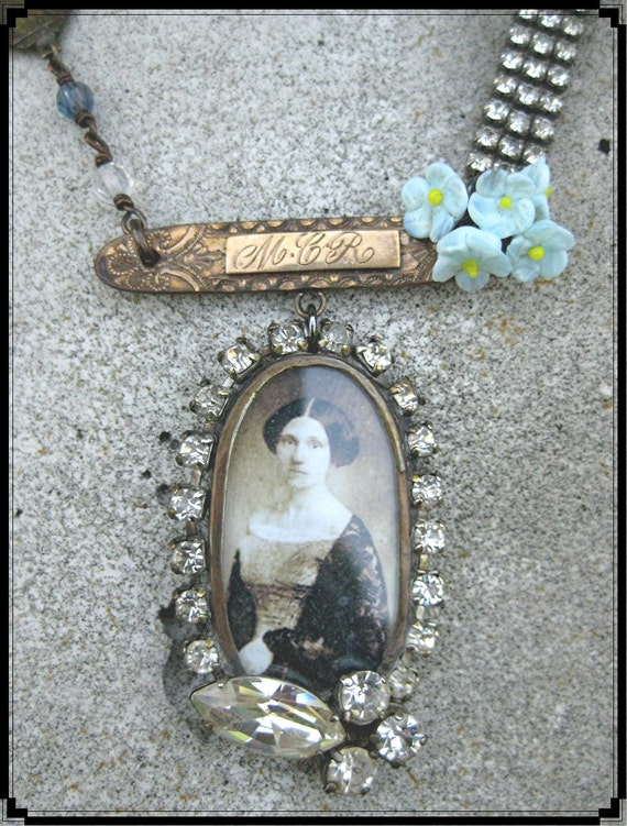Vintage assemblage soldered pendant necklace MCR