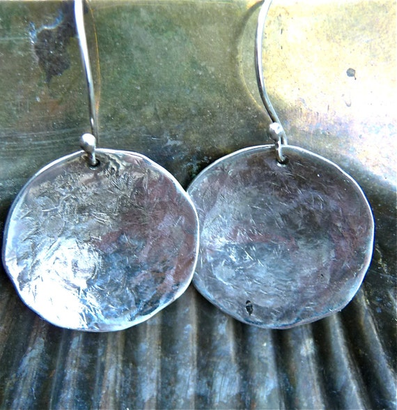 hammered rustic domed disc silver earrings