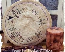 Snow Christmas Tree Candle Mat by Primitive Stitches-Primitive Stitchery E-Pattern--Instant Download