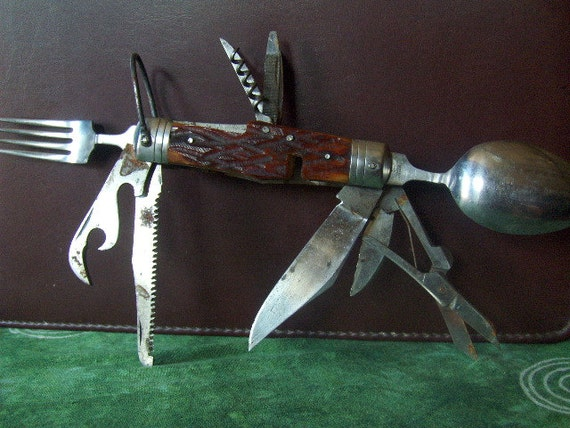 Antique Army Knife Swiss Style Survival Knife Eleven 11 Tools