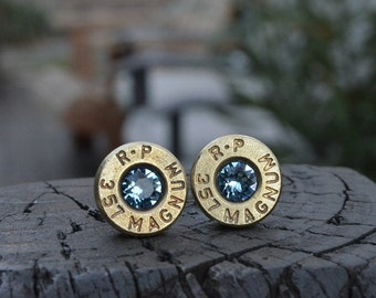 Bullet Earrings stud or post, brass/gold R-P Remington Peter .357 magnum with Swarovski crystals