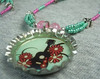 Pink and Green Guitar and Flowers Necklace - CLEARANCE