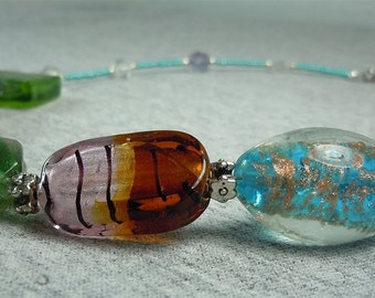 Chunky Glass Bead Necklace - CLEARANCE