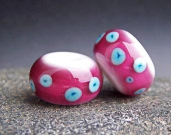 MruMru Handmade Lampwork Glass Bead Earring Pair. Fuchsia, Sra.