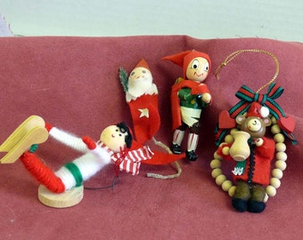 EIGHT Wooden Christmas  Ornaments -    Yarn Skier, Beaded Bear,  Hiker,  Santa Pick,  Duck,  Stocking Mouse,  Star and Man,  Teddy Bear