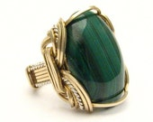 Handmade Wire Wrap Two Tone Sterling Silver/14kt Gold Filled Malachite Ring