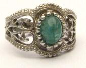 Handmade Sterling Silver Filigree Crown Emerald Ring