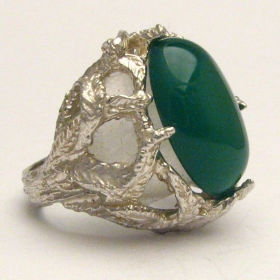 Handmade Solid Sterling Silver Green Onyx Cab Cabochon Ring