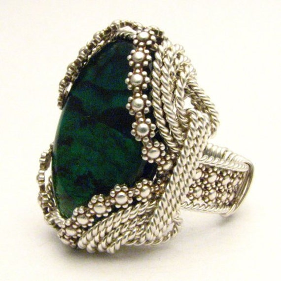 Handmade Sterling Silver Berry Wire Wrap Green Paua Ring