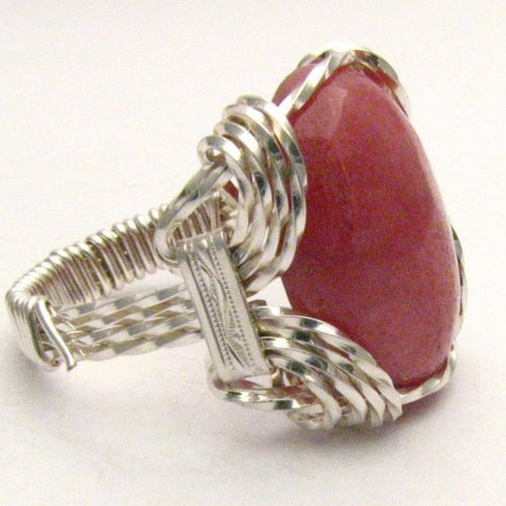 Handmade Sterling Silver Wire Wrap Red Sodalite Ring