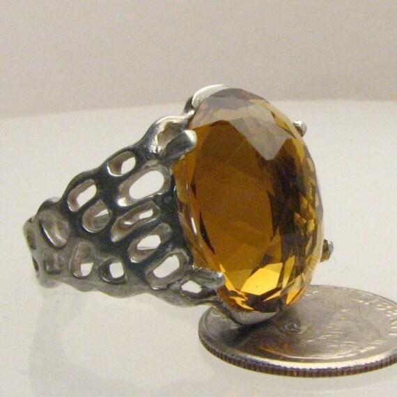 Handmade Sterling Silver Golden Citrine Lava Ring