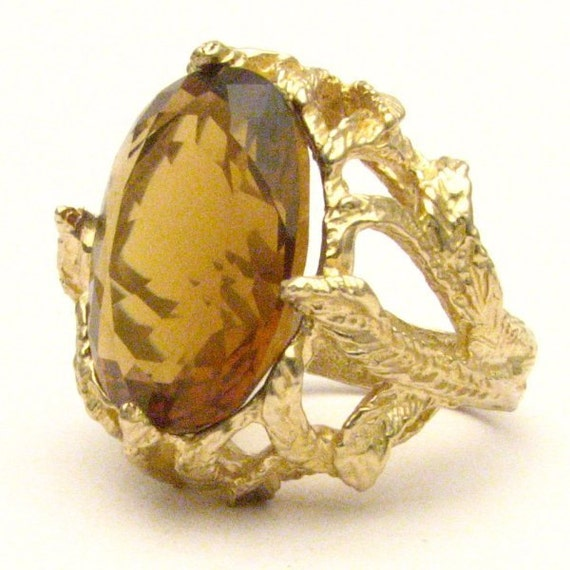 Handmade 14kt Gold Whiskey Quartz Claw Gemstone Ring