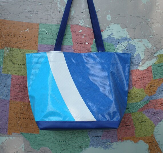 Tote bag made from an old billboard from Pepsi