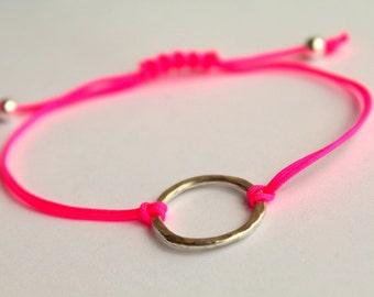 Friendship Bracelet Neon Pink Hammered Karma Bracelet  Macrame Knot