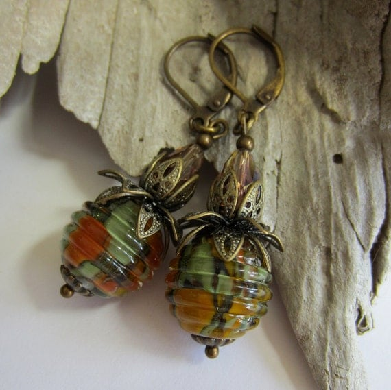 Lampwork Earrings - Autumn Danglers
