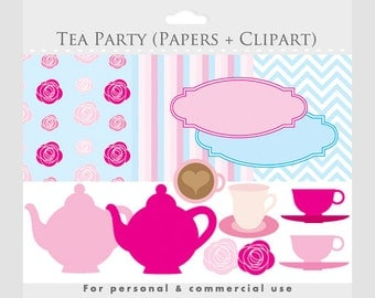 Tea party clipart with digital paper - teapot teacups roses frames clip art chevron stripes hot pink blue for personal and commercial use