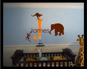 Personalized Name with Zoo Animals - Vinyl Decal