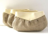 RESERVED for Jessica // Bridesmaid Clutches // Ivory Cream Vinyl - Rustic Country Burlap // Set of 5 // Made to Order