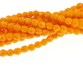 50 6mm PUMPKIN ORANGE OPAQUE Firepolish Czech Glass Beads Light Golden Orange 6mm Beads Faceted Fire Polished Autumn Fall