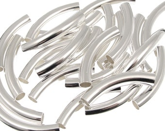 24 Noodle Beads 30mm x 5mm Silver Plated Curved Tube Beads Silver Tube Beads Silver Noodles (T5)