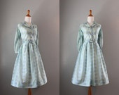 Vintage 50s Dress / 1950s Blue Floral Day Dress / Nelly Don Shirtwaist Dress