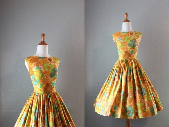 Vintage 1950s Dress / 50s Harvest Gold Sundress