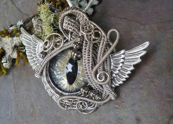 Gothic Steampunk Winged Evil Eye In Silver and Gold