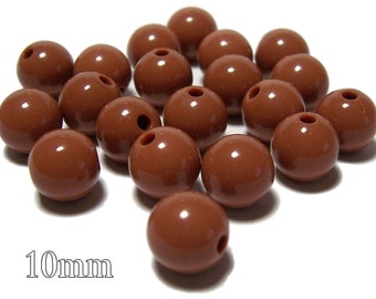 10mm Opaque acrylic plastic beads in Chocolate Brown 20 beads