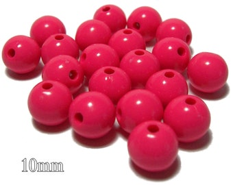 10mm Opaque acrylic plastic beads in Bright Coral 20 beads