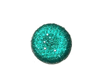20mm round and sparkly cabochon in Teal